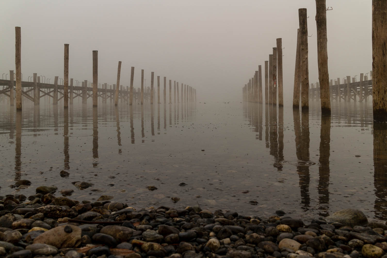 Reichenau Yachthafen Nebel
